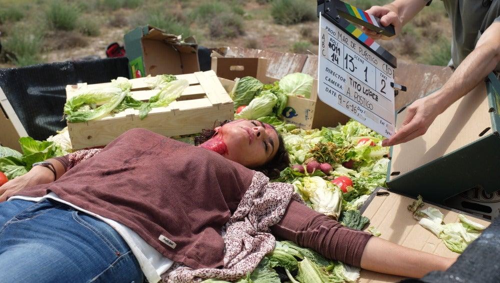 Belén López en el rodaje de su última secuencia