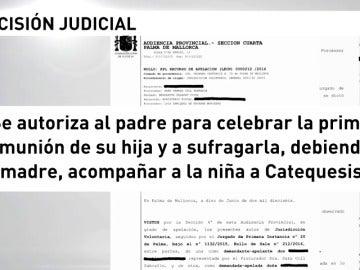 Frame 5.090678 de: Un juez autoriza a un padre a celebrar la primera comunión de su hija