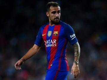 Paco Alcácer, en su debut en liga con el FC Barcelona