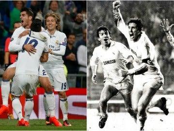 Morata y Juanito celebran dos goles en épocas diferentes con el Real Madrid