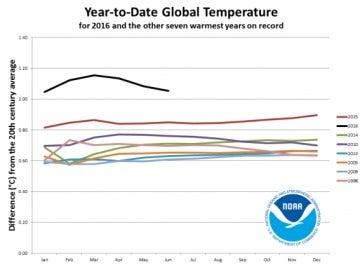 Gráfico de la temperatura en 2016