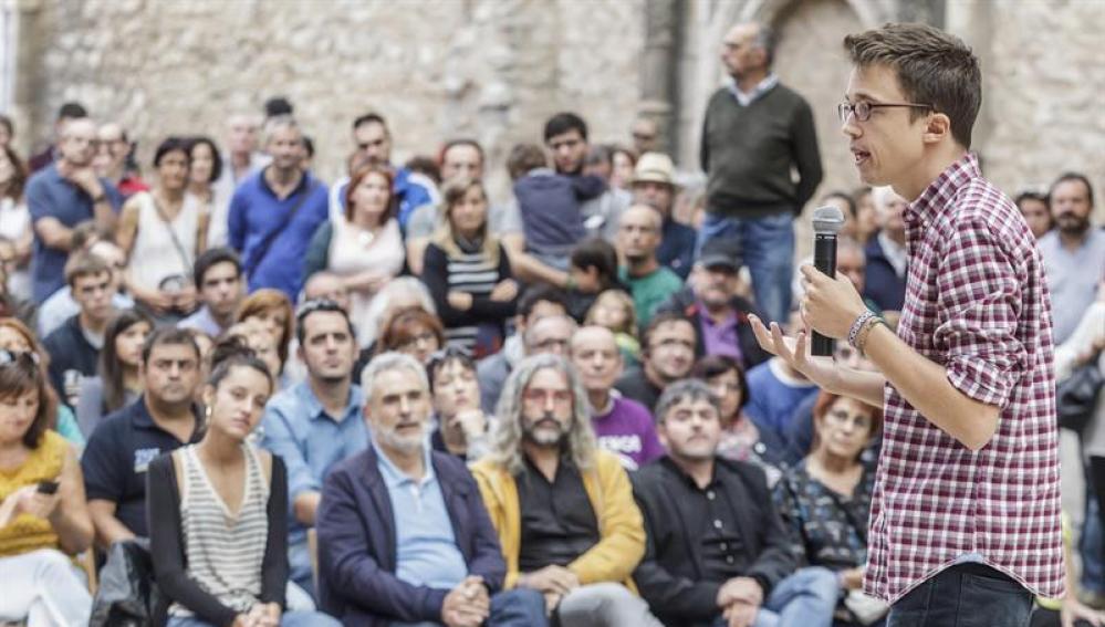 Íñigo Errejón en una acto de Podemos en Burgos