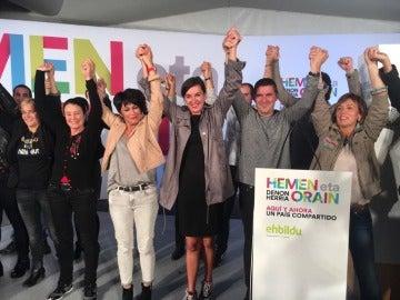 EH Bildu celebrando su segundo puesto en Galicia