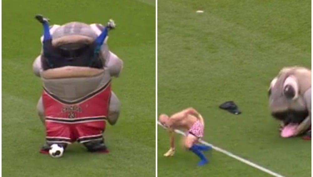 La mascota del Derby County 'se come' a un hombre