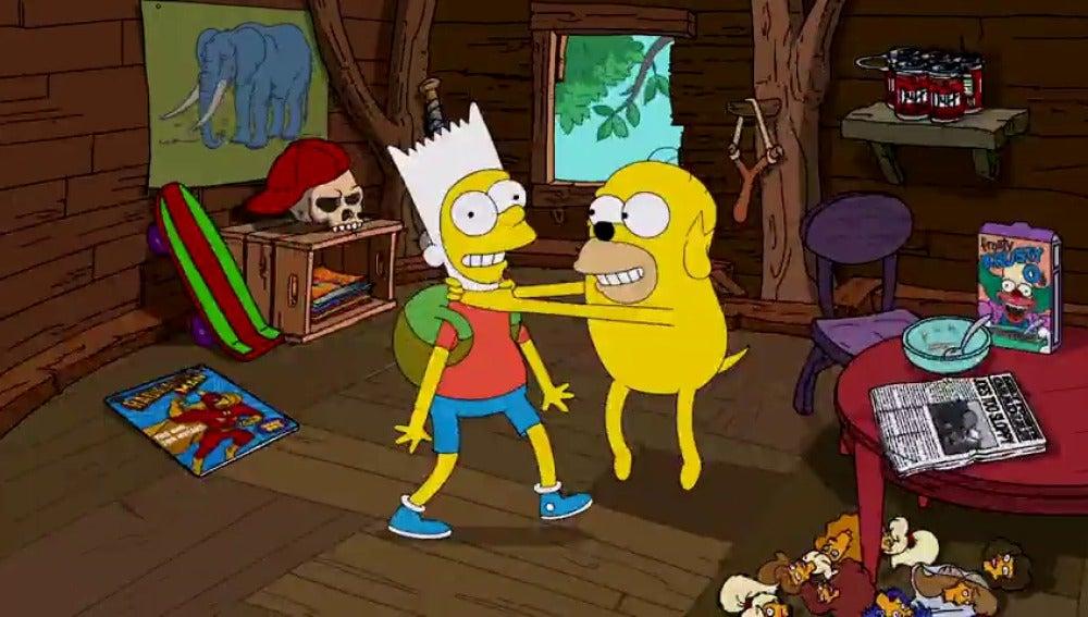 Frame 27.768476 de: 'Los Simpson' y 'Hora de Aventuras': crossover en la cabecera de la serie de Fox