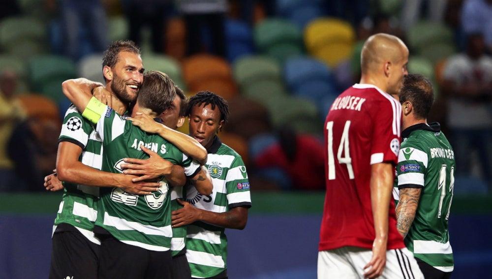 El Sporting de Portugal celebra un gol