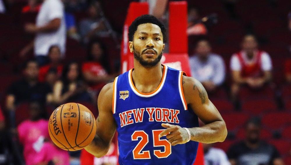 Derrick Rose, durante un partido con los Knicks