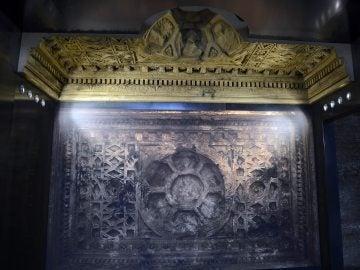 Imagen del techo del Templo de Bel en Palmira durante la presentación a los medios de la exposición 'Renacer de la destrucción'