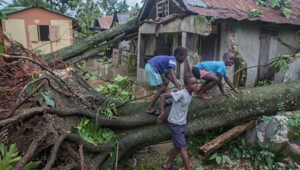 Una vivienda afectada en Haití
