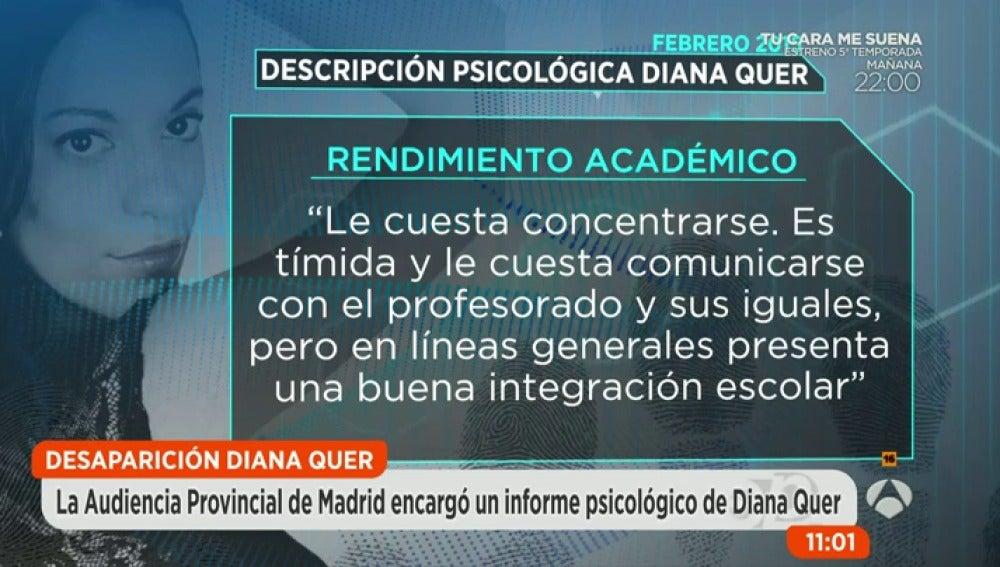 Frame 134.746115 de: Así es el perfil psicológico de Diana Quer que encargó la Audiencia Provincial tras el divorcio de sus padres