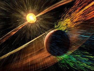 Una tormenta solar publicada en un folleto de la NASA