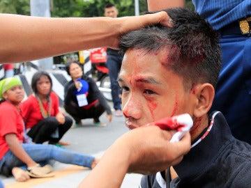 Un joven herido en las protestas
