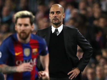 Pep Guardiola y Messi