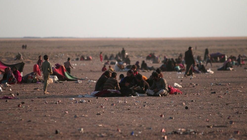 Varios iraquíes huyen de Mosul
