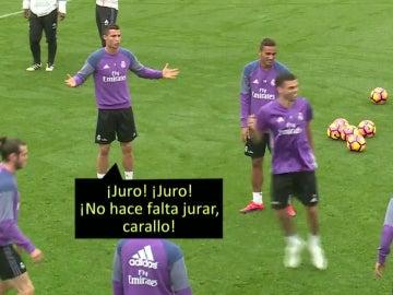 Cristiano, en un entrenamiento
