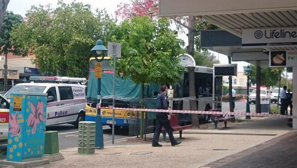 Vista de la zona acordonada donde se produjo el ataque a un conductor de autobuses en un barrio de Brisbane