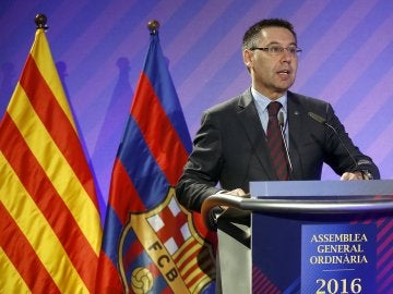 Josep María Bartomeu, durante la Asamblea General Ordinaria