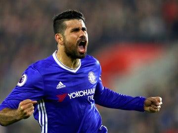 Diego Costa, celebrando su gol ante el Southampton