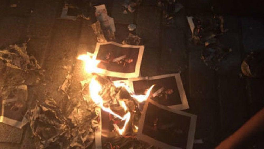 Fotos quemadas del Rey Felipe VI durante la Diada