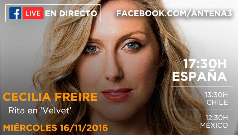 Cecilia Freire estará en directo con los seguidores de 'Velvet' en Facebook Live