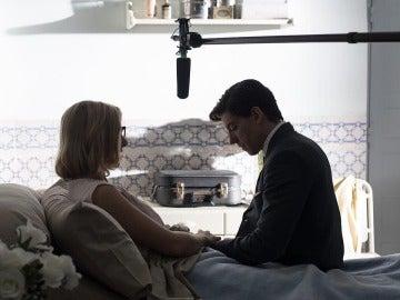 Cecilia Freire y Adrián Lastra en el rodaje de 'Velvet'