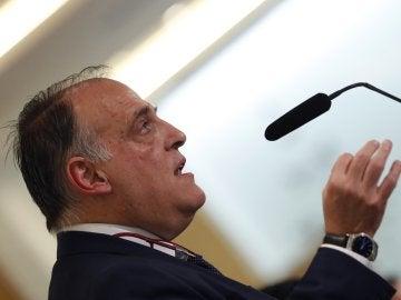 Javier Tebas, durante el acto con la prensa