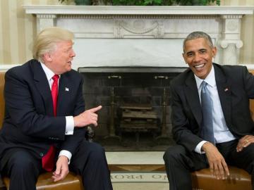 Donald Trump y Barack Obama, durante su primera reunión