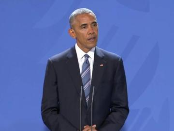 Barack Obama durante su discurso con Angela Merkel