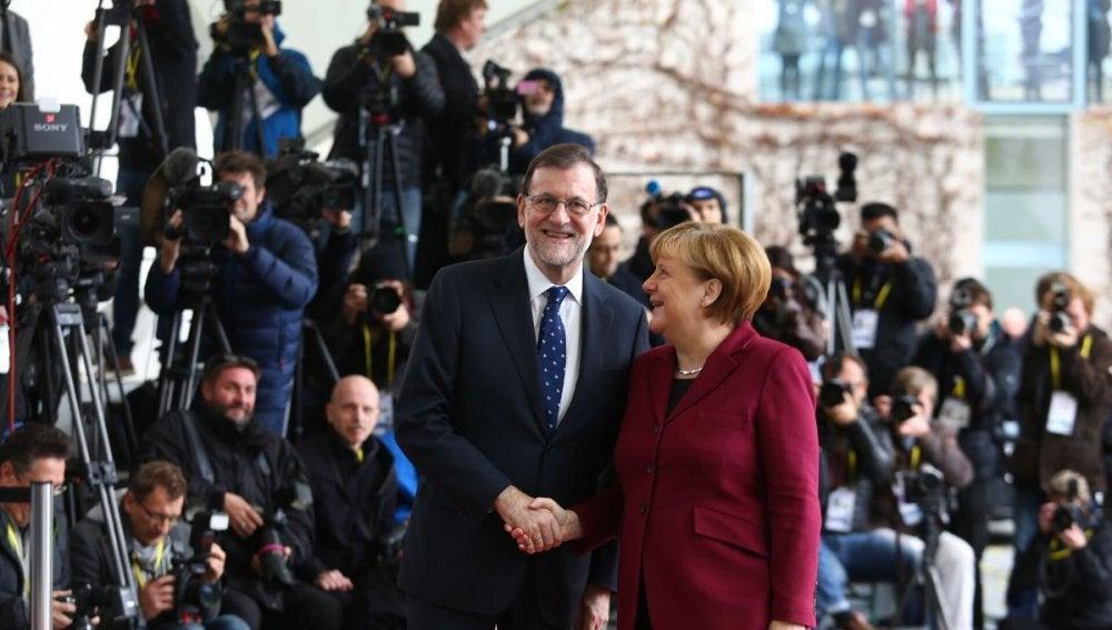 Mariano Rajoy, con Angela Merkel en la Cancillería Federal Alemana