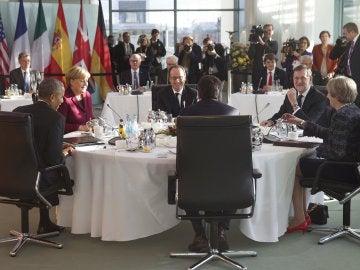Los líderes europeos con Barack Obama