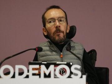 Pablo Echenique, durante la rueda de prensa que ha ofrecido tras el Consejo de Coordinación del partido
