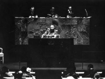 Fidel Castro durante su discurso ante la Asamblea General de las Naciones Unidas