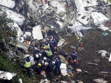 Zona del accidente aéreo cerca de Medellín