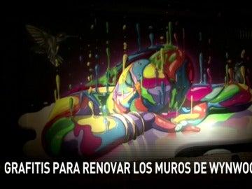Frame 2.329866 de: Varios artistas urbanos visten de arte los Muros de Wynwood