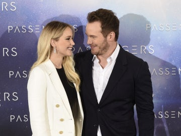 Jennifer Lawrence y Chris Pratt en su visita a Madrid