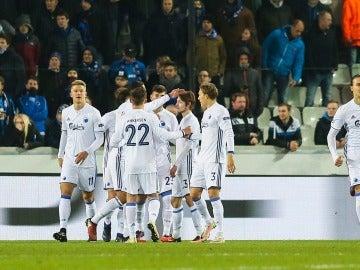 Los jugadores del Copenhague celebrando un gol