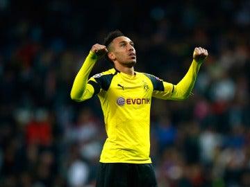 Aubameyang celebra un gol con el Dortmund