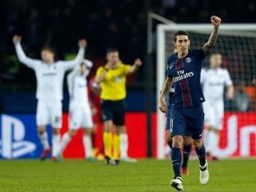 Di María celebrando un gol con el PSG