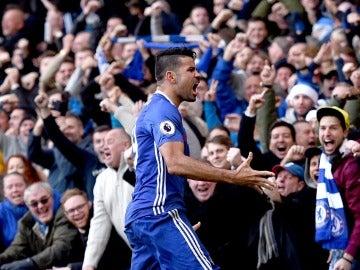 Diego Costa celebrando su gol frente al West Brom
