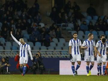 Juanmi Jiménez celebra su gol contra el Valladolid
