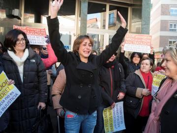 Juana Rivas en la manifestación contra la decisión del juez en una imagen de archivo
