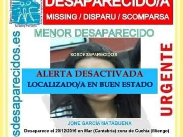 Alerta desactivada de SOS desaparecidos