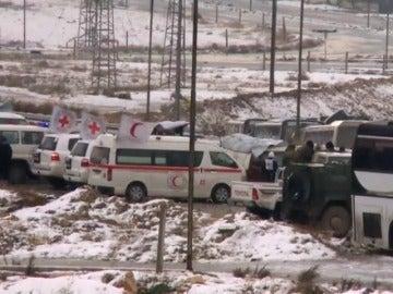 Frame 27.214762 de: Al menos 40.000 civiles han sido ya evacuados de los barrios sitiados de Alepo para ser trasladados a Idlib
