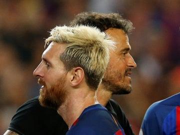 Luis Enrique, con Messi