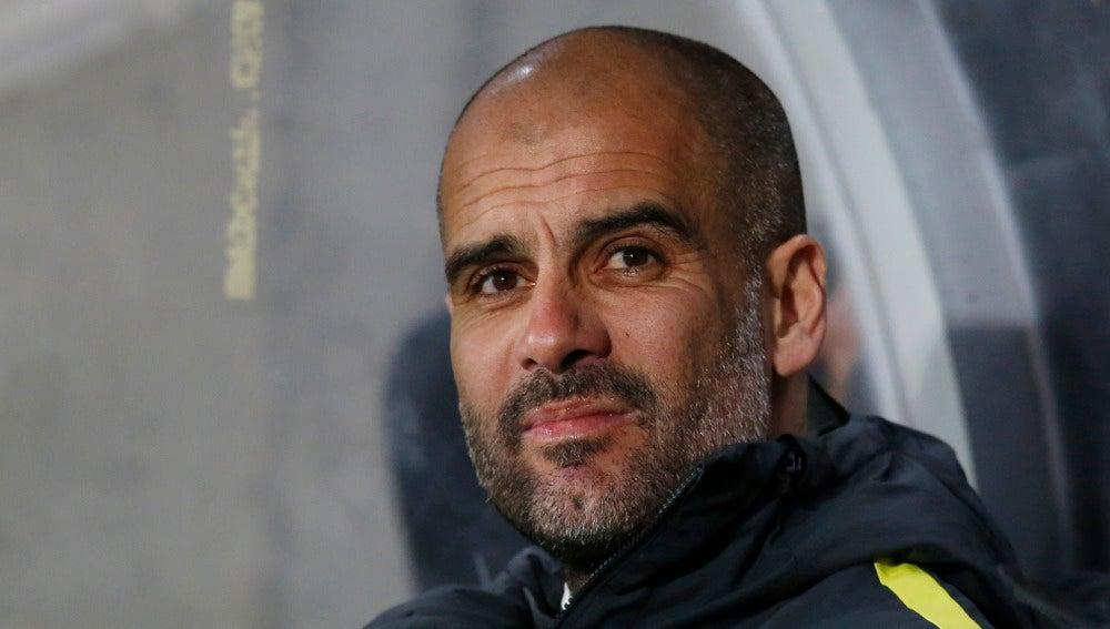 Pep Guardiola, durante un partido con el City