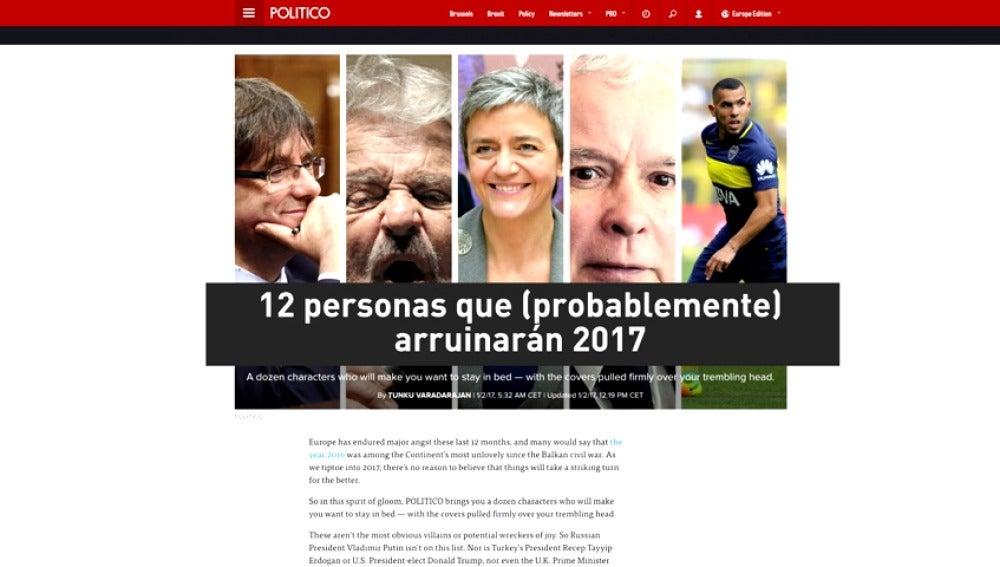 """Frame 7.495709 de: Puigdemont, una de las 12 personas que podrían arruinar el 2017, según la web """"Político"""""""