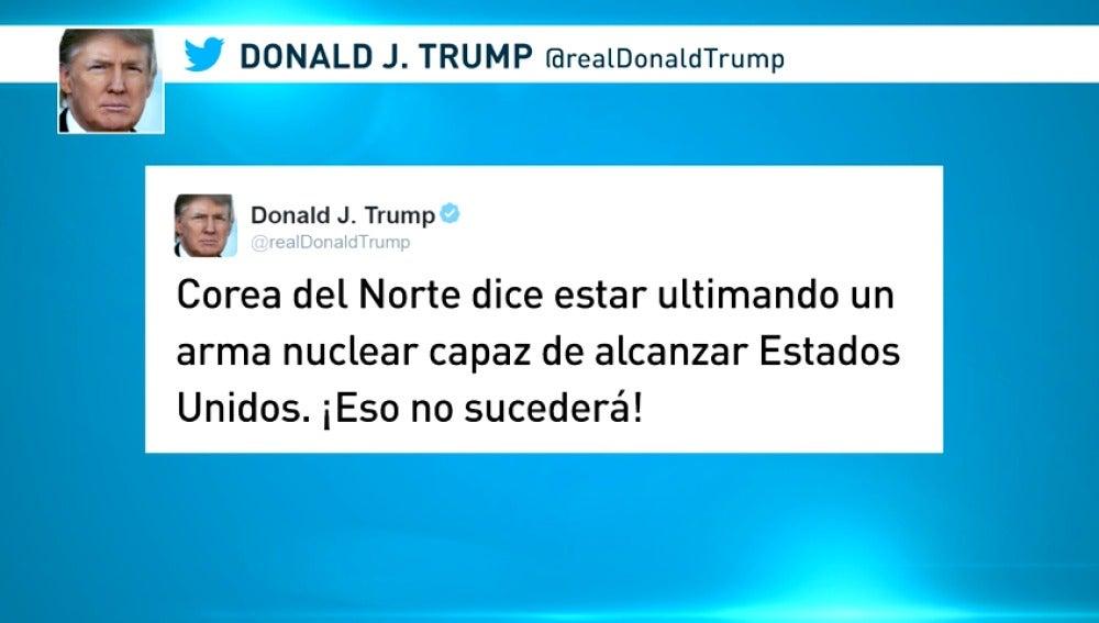 """Frame 10.588139 de: Trump, ante las amenazas nucleares de Corea del Norte: """"¡No va a suceder!"""""""