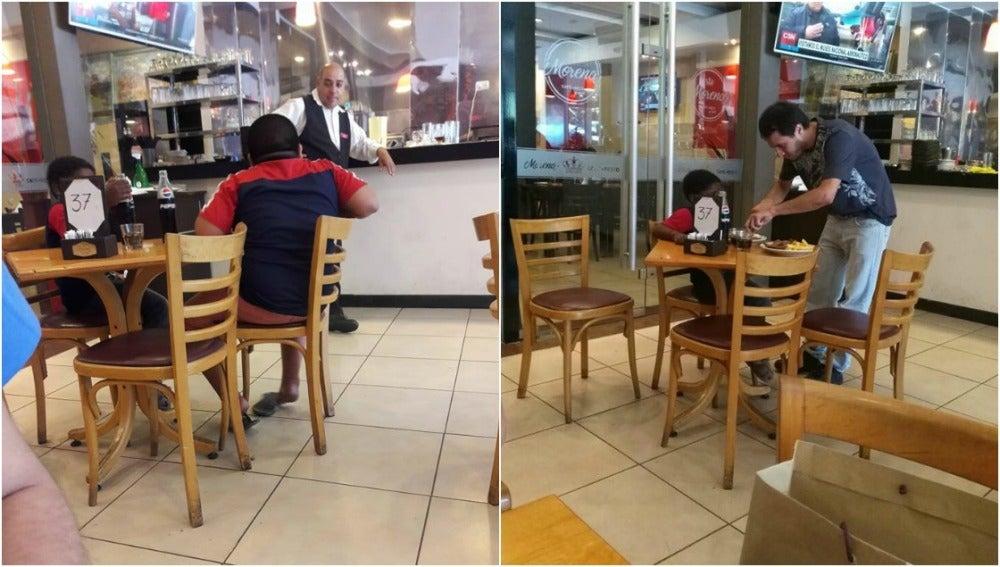 Los dos niños en el restaurante