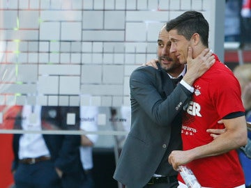 Lewandowski y Pep Guardiola