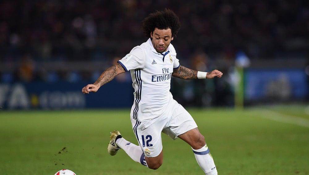 Marcelo en un partido con el Real Madrid